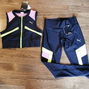 NWT Puma Chase Full Zip Crop Top & Leggings CS